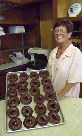 Tray of Chocolate Doughnuts